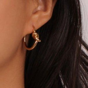 Gold knot mini hoop earrings